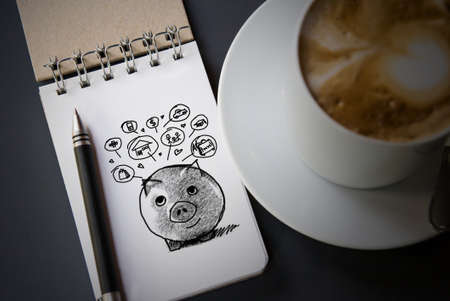 black money: Piggy bank and icons design to represent the concept of saving money