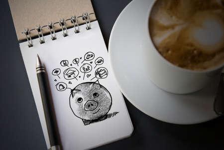 argent: Piggy bank et la conception des icônes pour représenter le concept de sauver de l'argent Banque d'images