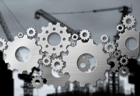 metal gears: Metal gears design on construction site background