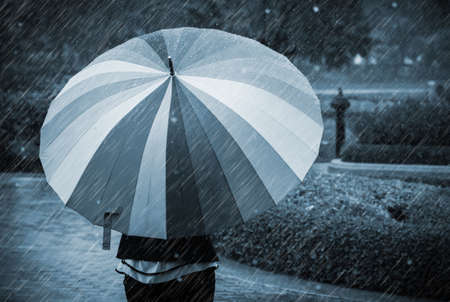 singly: Young woman with umbrella in rainy day
