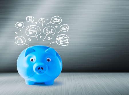pig iron: Blue piggy bank and icons design to represent the concept of saving money