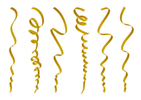 ribbon isolated: Set of gold ribbons design