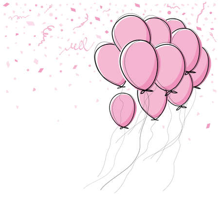party balloons: Vector pink balloon on white background