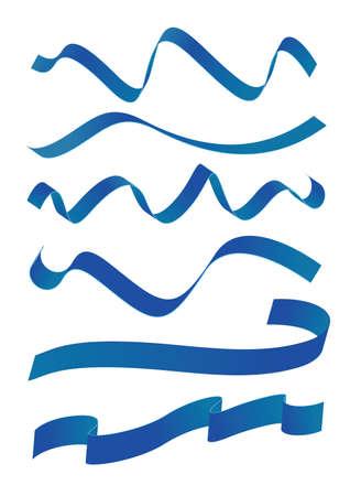 ribbin: Set of blue ribbons design Illustration