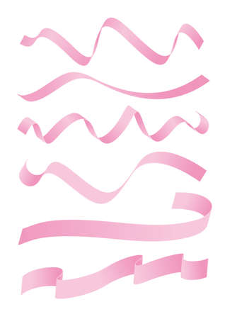 Set of pink ribbons design Illustration