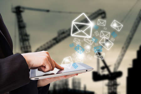 conection: Businesswoman checking email