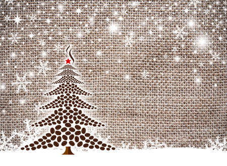 Christmas tree design of coffee beans Stock Photo