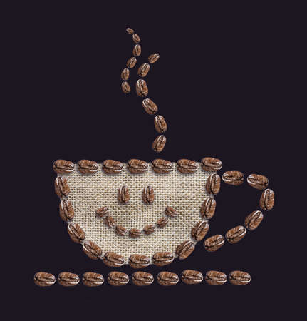 poke': Hot coffee is smiling on black background