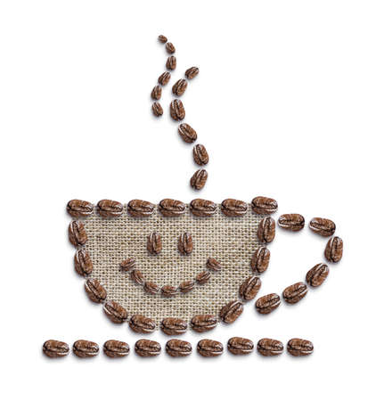 coffee sack: Hot coffee is smiling on white background