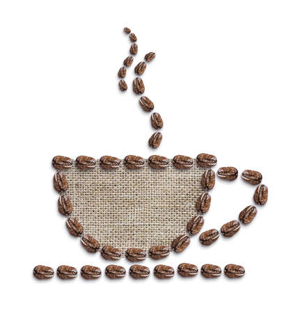 burlap bag: Hot coffee on white background