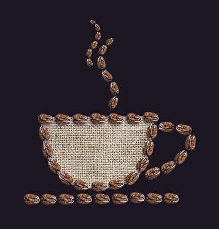 coffee sack: Hot coffee on black background