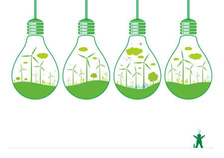 windpower: Wind turbine and nature in light bulb