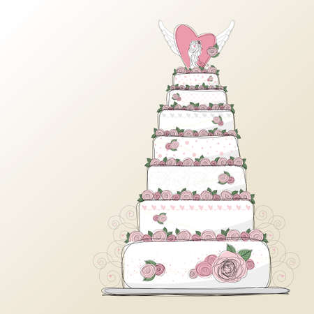mate married: Vector wedding cake design