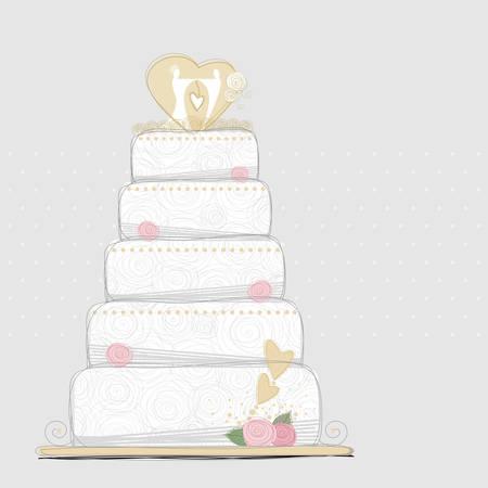 matrimonial: Vector wedding cake design