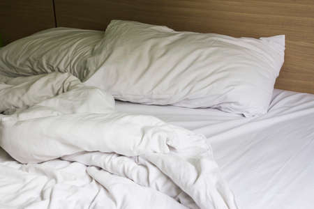 stateroom: Pillow on bed in the bedroom Stock Photo