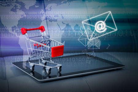 redes de mercadeo: Conceptos de negocio de marketing por correo electrónico Foto de archivo