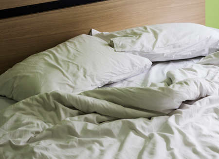 dishevelled: Pillow on bed in the bedroom Stock Photo