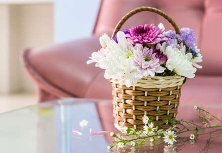leaf cutter: Chrysanthemum flower in the basket decorated living room