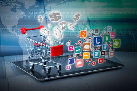 온라인 개념을 쇼핑 스톡 콘텐츠