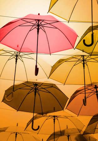 pellucid: Umbrellas decoration in rainy day Stock Photo