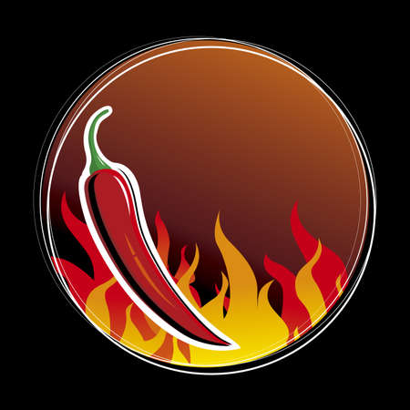 chilli: Vector Red hot chilli pepper with fire