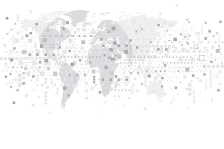 digital world: World digital design on white background Illustration