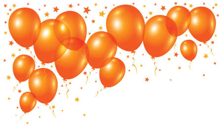 Vector orange balloons on white background Çizim