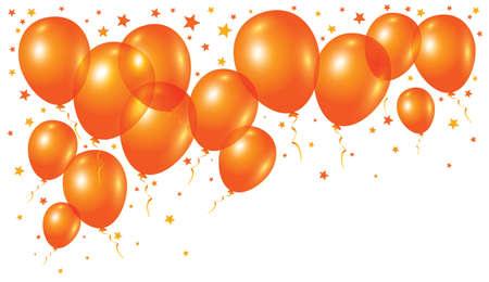 Vector oranje ballonnen op witte achtergrond Stock Illustratie