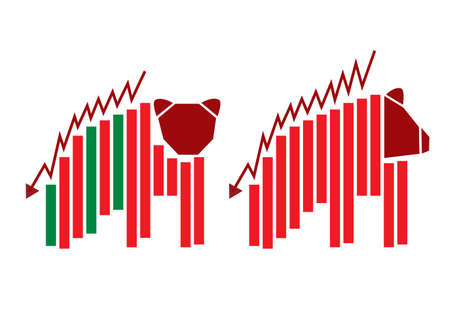 bear market: Vector bear and graph design for stock market Illustration