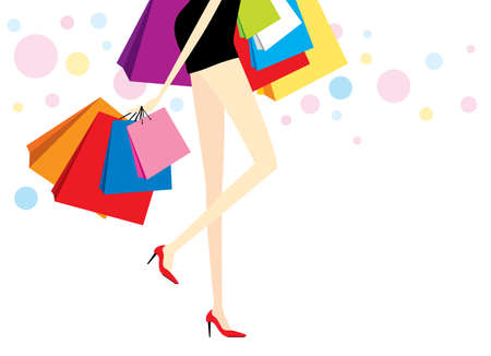 woman shopping bags: Vector woman with shopping bags