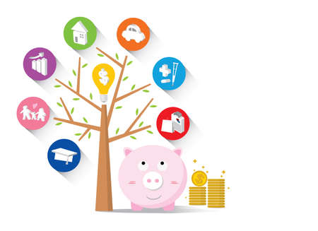 financial item: Piggy bank and icons design to represent the concept of saving