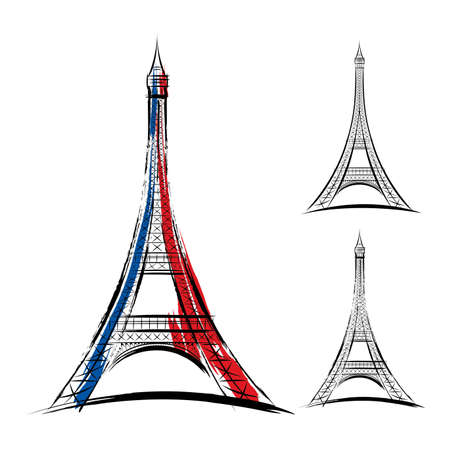 brush drawing: Vector eiffel tower on white background