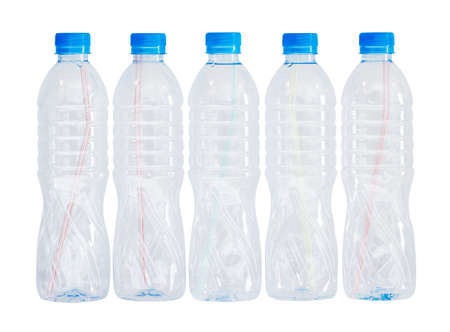 scum: Plastic bottles on white background with clipping path