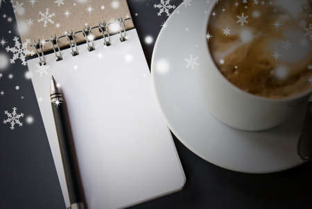Notebook and hot coffee for christmas Stock Photo