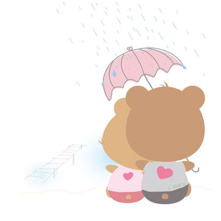 back to back couple: Love concept of couple teddy bear doll in rainy day
