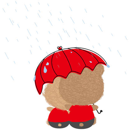 rain cartoon: Love concept of couple teddy bear doll in rainy day