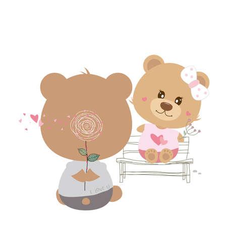 lovely couple: Love concept of couple teddy bear doll