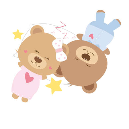 sweet couple: Love concept of couple teddy bear doll sleeping on pillow