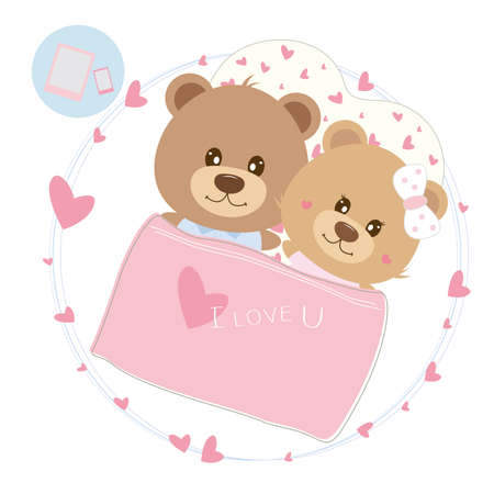 Love concept of couple teddy bear doll sleeping on the bed