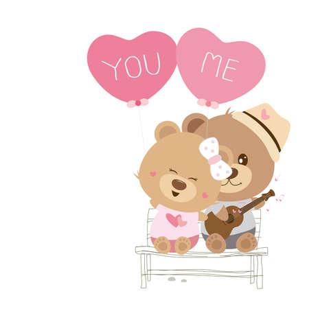 cute love: Love concept of couple teddy bear doll sing a song