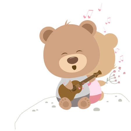 love song: Love concept of couple teddy bear doll sing a song