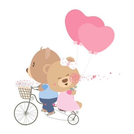 bicicleta vector: Concepto del amor de los pares del oso de peluche de la muñeca de ciclismo Vectores