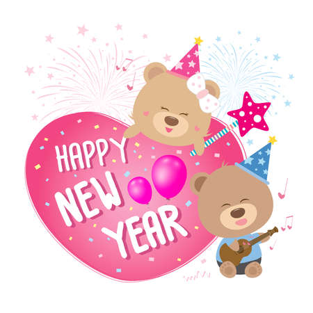 cartoon doll: Heart with happy new year and teddy bear couple singing a song Illustration