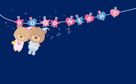buonanotte: Buona notte. Coppia orsacchiotto sulla linea di vestiti. Vettoriali