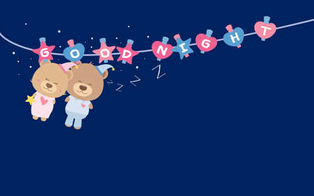 good idea: Good Night. Couple teddy bear on clothes line.