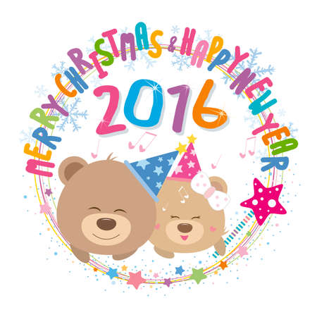 happy couple: Couple teddy bear with merry christmas and happy new year 2016