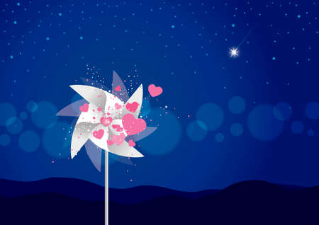 desolate: Vector windmill with heart Illustration