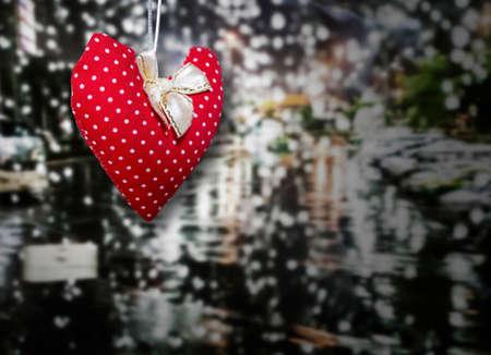 rainy day: Red heart in rainy day Stock Photo