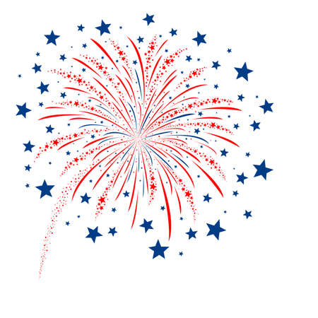 independence day america: Vector firework design on white background