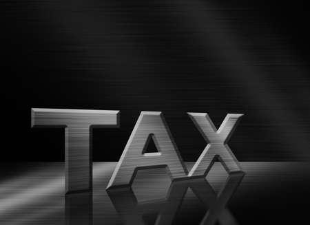 letras negras: letras de la palabra Impuesto sobre el fondo de metal negro Foto de archivo